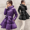 2016 New Fashion Winter Temperament Solid Color Stand Neck Full Sleeve Slim Coat Down Cotton Women