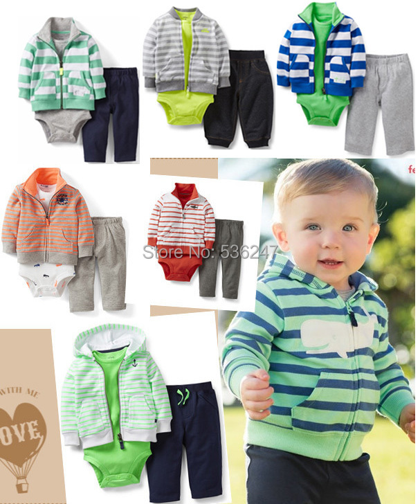 Retail 3-Piece Carters Sets (Coat Bodysuit Pants) Baby Boys Clothing Children Suits Newborn Infant Clothes Autumn Spring NB-24M(China (Mainland))