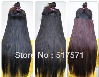 """26""""(65cm) Women  clip in hair extensions Long Straight Onepiece hair pieces accessories 5 Colors Auburn/Black/Blonde/Brown"""