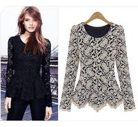 Free shipping plus size XXXL women long sleeve blouse  long-sleeve o-neck lace blouse basic  t-shirt
