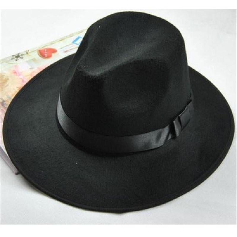 JM 2014 New Casual Unisex Vintage Blower Jazz Hat Trilby Derby Cap Fedora Style Hats Black Brown Drop Shipping - favor-early store