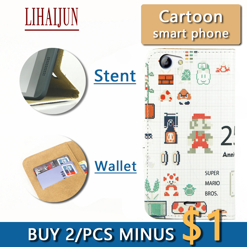 LIHAIJUN Fashion Cartoon Flip Pu Leather TWO Card wallet Phone Case For ZTE Mighty 3C Case Cover Free Shipping(China (Mainland))