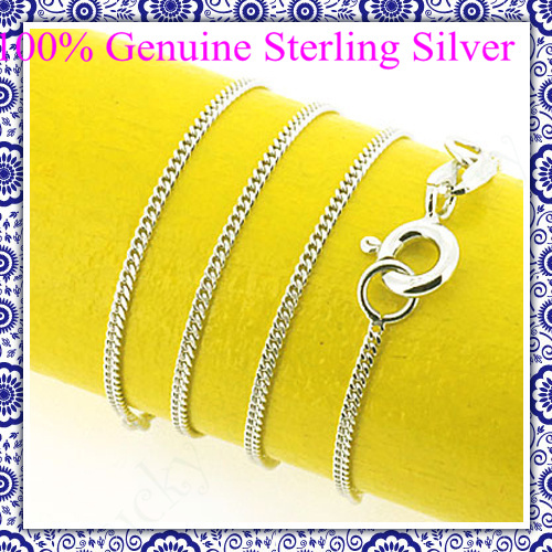 100% genuine solid 925 sterling silver chain for necklace pendant jewelry women 16/18 inch retail & wholesale free allergy