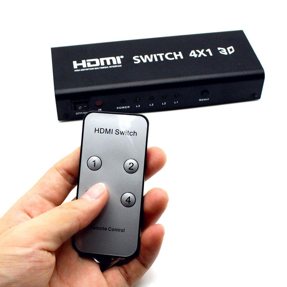 Brand New HDSW4 4 X 1 5 Ports Up To 225MHz HDMI Switcher Splitter With IR Wireless Remote Support EU Plug(China (Mainland))