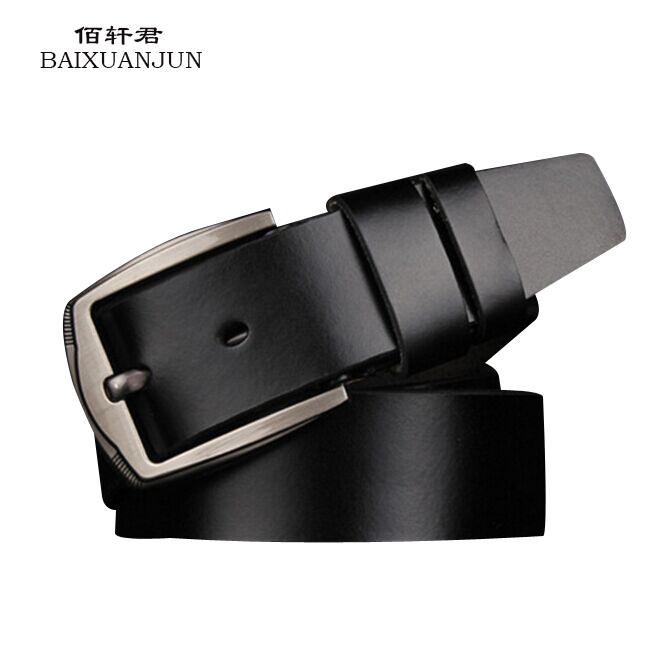 [BAIXUANJUN]2016 new casual leather belt men's leather belt pin buckle wholesale 100% leather belt men's brand jeans belt(China (Mainland))