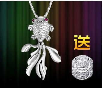 Lucky goldfish 925 sterling silver necklace pendant clavicle female brief paragraph Lovely silver gift(China (Mainland))