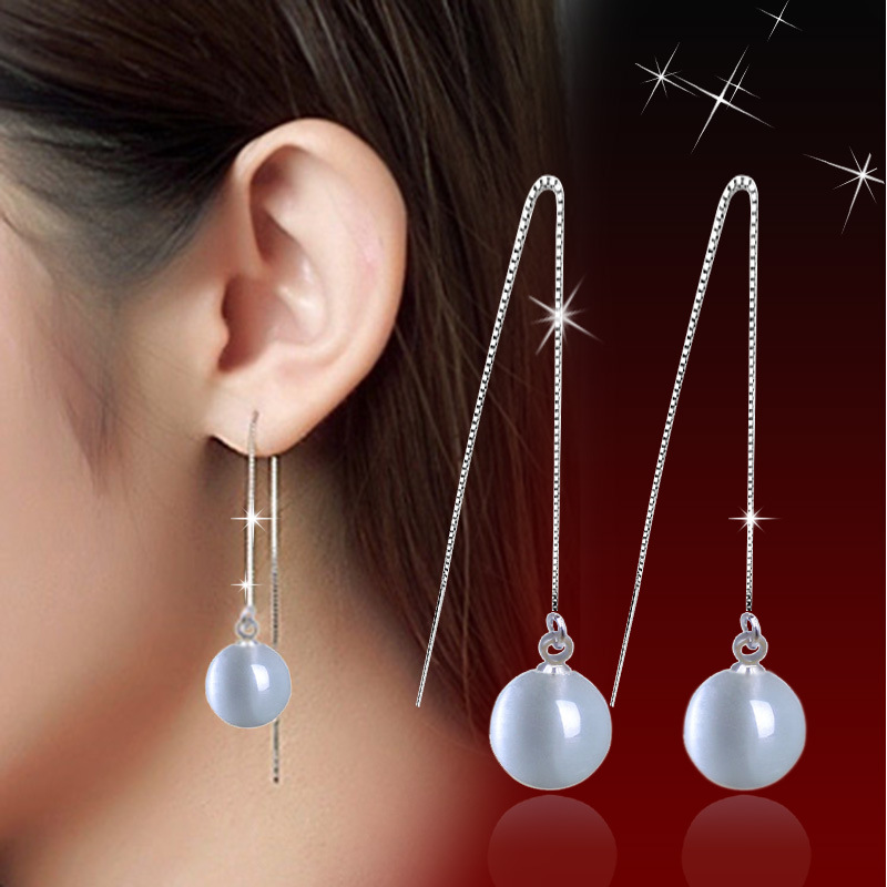 2016 Vintage New Silver Earrings Jewelry For Women High Quality moonlight Stone Opal Earrings Long Ear Wire Jewelry(China (Mainland))