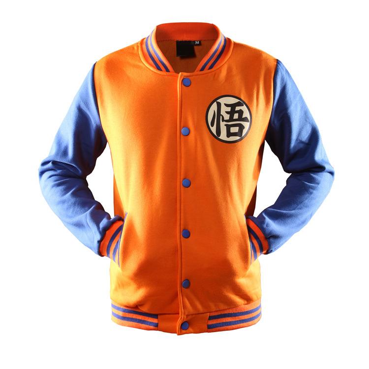 2016 Brand Clothing Hoodies Men Hip Hop Baseball Jacket Dragon Ball Hoodie Sweatshirt Men Cartoon Baseball Jacket Size M-XL(China (Mainland))