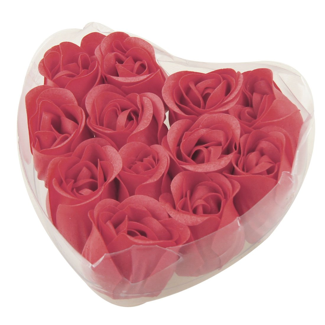 10x 12 Pcs Red Fragrant Rose Bud Petal Soap Wedding Favor + Heart Shape Box(China (Mainland))