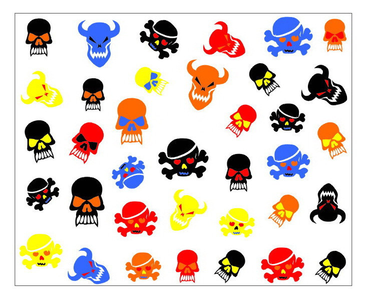 Nail 3D Art Stickers Decal Halloween Horror Black Blue Red Yellow Skull Bull Design Foils Stamps Tools(China (Mainland))