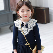 Children Fashion Brand School Girls Spring Autumn Cotton Blouse Kids Girl Solid Retro Blouse Baby Girls Princess Lace Shirts