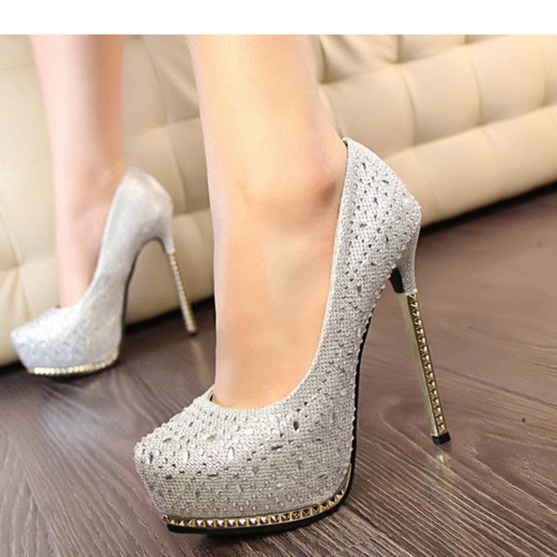 Free shipping prom heels new 2015 women pumps wedding platform high heels crystal shoes silver rhinestone sapatos femininos(China (Mainland))