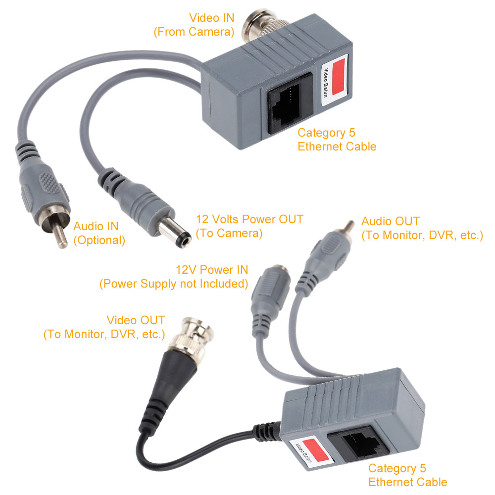 Hot CCTV Camera Audio Video Power Balun Transceiver BNC UTP RJ45 with Audio Video and Power over CAT5/5E/6 Cable(China (Mainland))