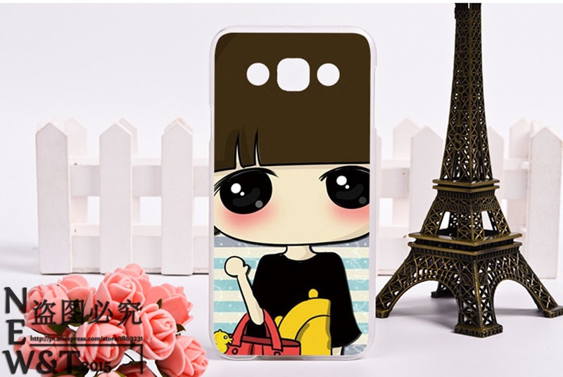 Mobile Phone Cover For Samsung Galaxy E5 E500 SM-E500F E500H Cases Hard and Silicon Shell Species Painted Cute Girls Pattern