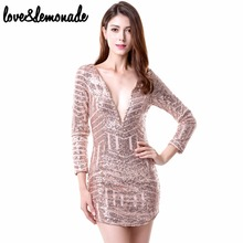 Buy Love&Lemonade Fashion Geometric Sequined V-Neck Slim Dress. Party Dress TB 8150 for $28.70 in AliExpress store
