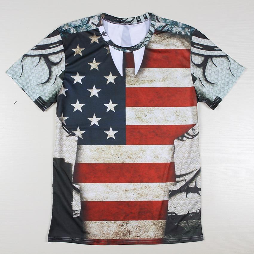 Fashion Cheap American Flags T Shirts Men Poker Top Cake Tees Casual Tshirt Printed Harajuku Cotton Polyester Camiseta S-4XL(China (Mainland))