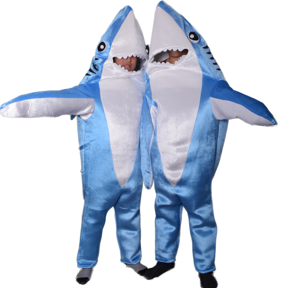 Blue adult shark costume animal cosplay suit Mascot unisex Cute jumpsuits halloween costumes for women mascote wholesale