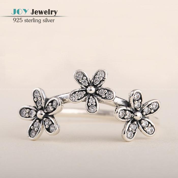 2015 Spring Elegant Daisy Rings For Women With Clear Cz Stone Micro Pave 925 Sterling Silver Fine Flower Engagement Rings RIP122(China (Mainland))