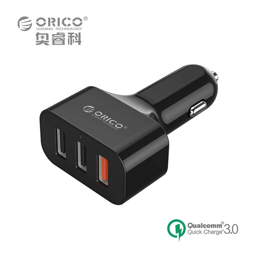 ORICO UCH-Q3 For Qualcomm Quick Charger 3.0 3 Ports Mini USB Car Charger for iPhone 6s iPad Samsung HTC Xiaomi QC2.0 Compatible(China (Mainland))
