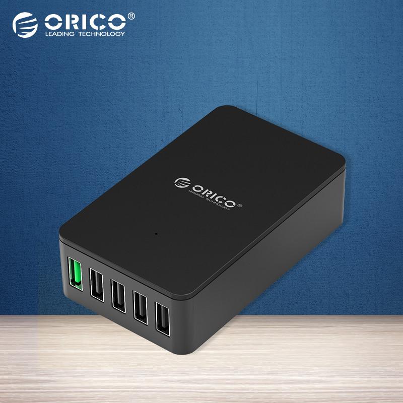 ORICO QSE-5U 5 Ports QC2.0 5V2.4A 9V2A 12V1.5A Desktop USB Quick Charger with EU Plug/US Plug - Black