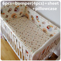 Promotion 6PCS Baby bedding set Toddler baby sheet crib cot bedding sets bumpers sheet pillow cover