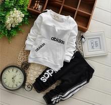 retail 2-5yrs 2016 New cotton spring children baby boys girls autumn spring 2pcs clothing set suit baby shirt+pants sets(China (Mainland))