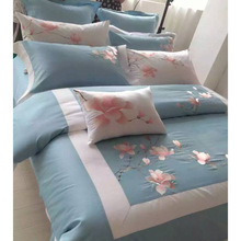 Luxury Large Silk Bedding Set 4Pcs Set Duvet Cover + Sheet+2pcs Pillow Case King Queen Size Embroidery Brief Bedclothes Home Use(China (Mainland))