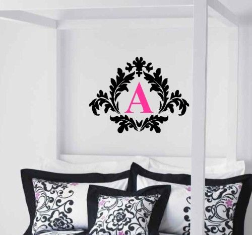 A092 Damask with Monogram Vinyl Wall Decal Decor Lettering Custom for home decor(China (Mainland))
