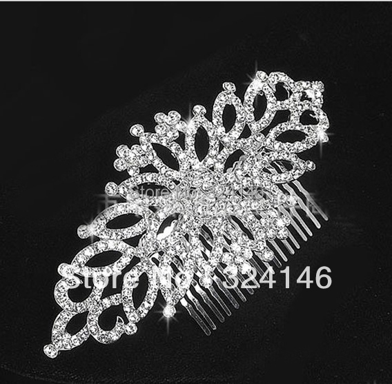 Top quality Gorgeous crystal hair comb for women Fashion bridal wedding Hair combs Silver plated hair jewelry veil accessories