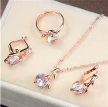 ZOSHI אפריקאים סטי תכשיטי כלה זהב צבע שרשרת עגילי טבעת חתונה קריסטל sieraden נשים אופנה תכשיטי סט(China)