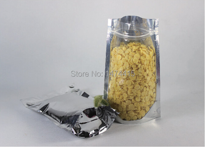 Aluminium Foil plastic bags, ziplock stand up pouch Candy coffee tea Packaging Bag,18*26cm(bottom 4cm) 100pcs/lot Free Shipping(China (Mainland))
