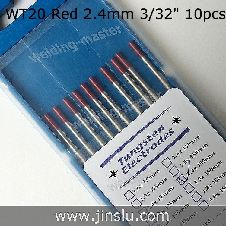 """2.4 mm X 150 mm 3/32 """" X 6 """" rouge pointe WT20 électrode de tungstène pour le soudage TIG torche(China (Mainland))"""