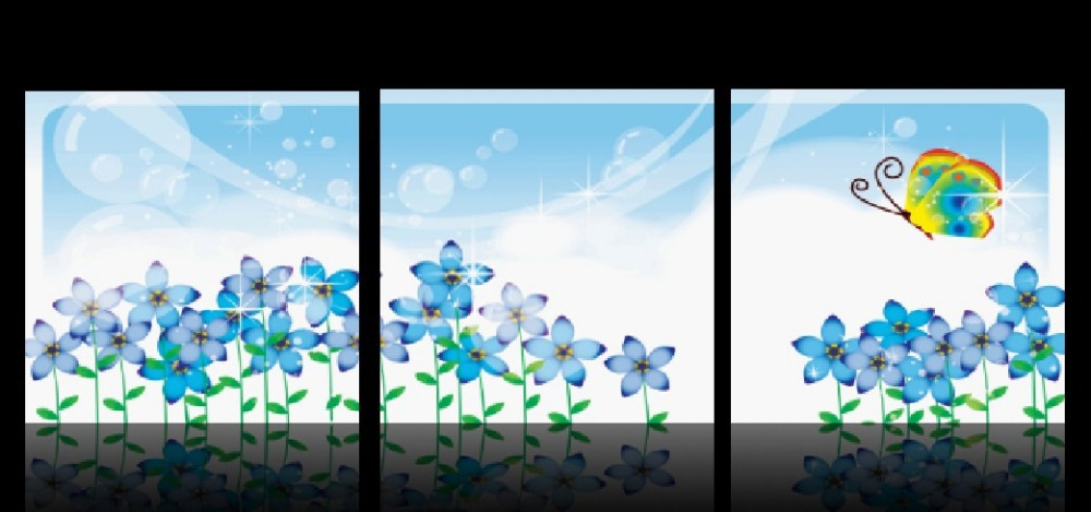 3 Panel Hot Sell Modern Wall Painting Home Decorative Art Picture Paint on Canvas Prints Crystal like daffodils and butterfly(China (Mainland))