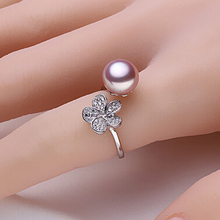 Purple freshwater pearl ring 100% real freshwater pearl jewelry romantic gift for women R013(China (Mainland))
