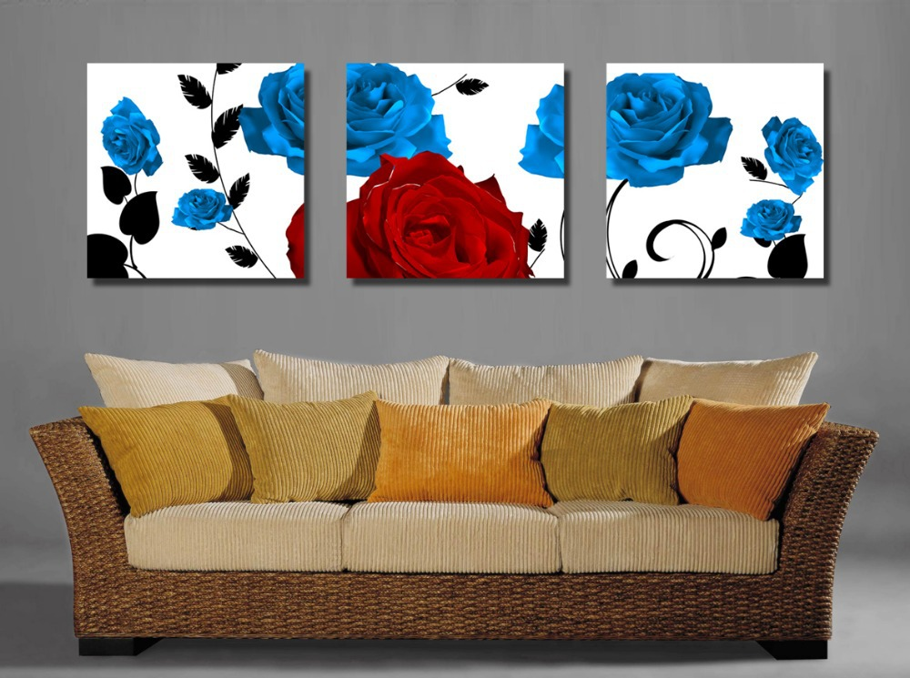 Hot sell 3 panels free shipping blossom rose painting wall hanging home decor art picture paint - Sell home decor online collection ...