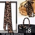 100 silk Extra long 120X10cm lepord twill silk small scarf Ladies silk twilly scarf small bag