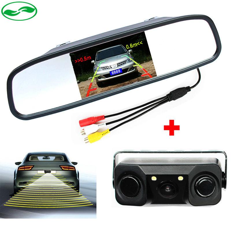 New 3 in1 Car Video Parking Sensor 4.3 Inch Car Mirror Monitor Reverse Backup Radar Sound Alert Indicator Probe System(China (Mainland))