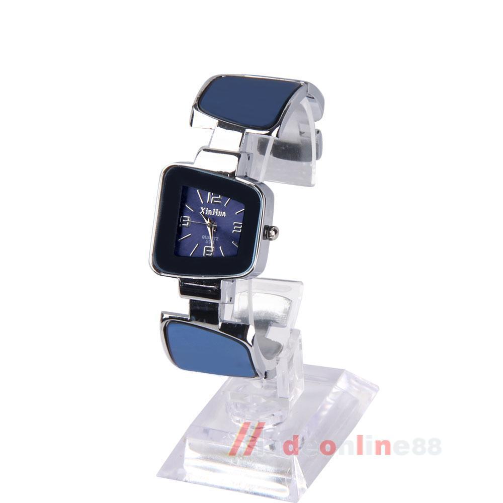 New Fashion Trapezoid Quartz Dial Bangle Charms Bracelet Watch Dark Blue M3AO(China (Mainland))
