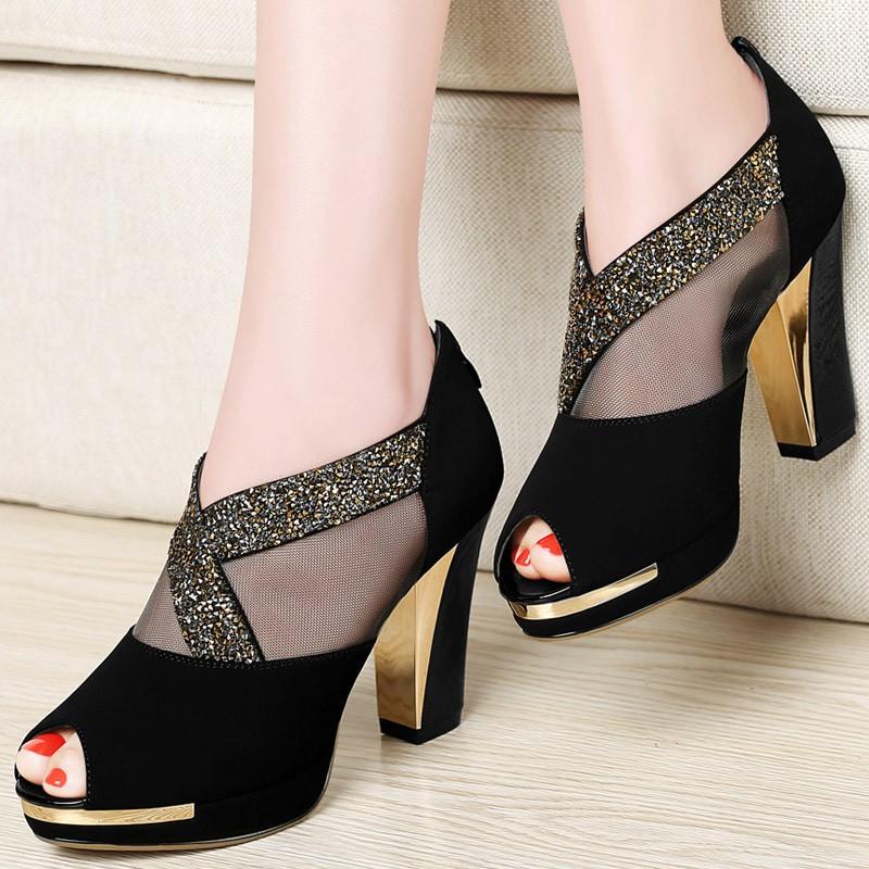 ซื้อ รองเท้าผู้หญิง2016ฤดูใบไม้ผลิ/ฤดูร้อนแฟชั่นผู้หญิงปั๊มแพลตฟอร์มP Eep Toeผู้หญิงรองเท้าส้นสูงตาข่ายอากาศรองเท้าผู้หญิง1027-46