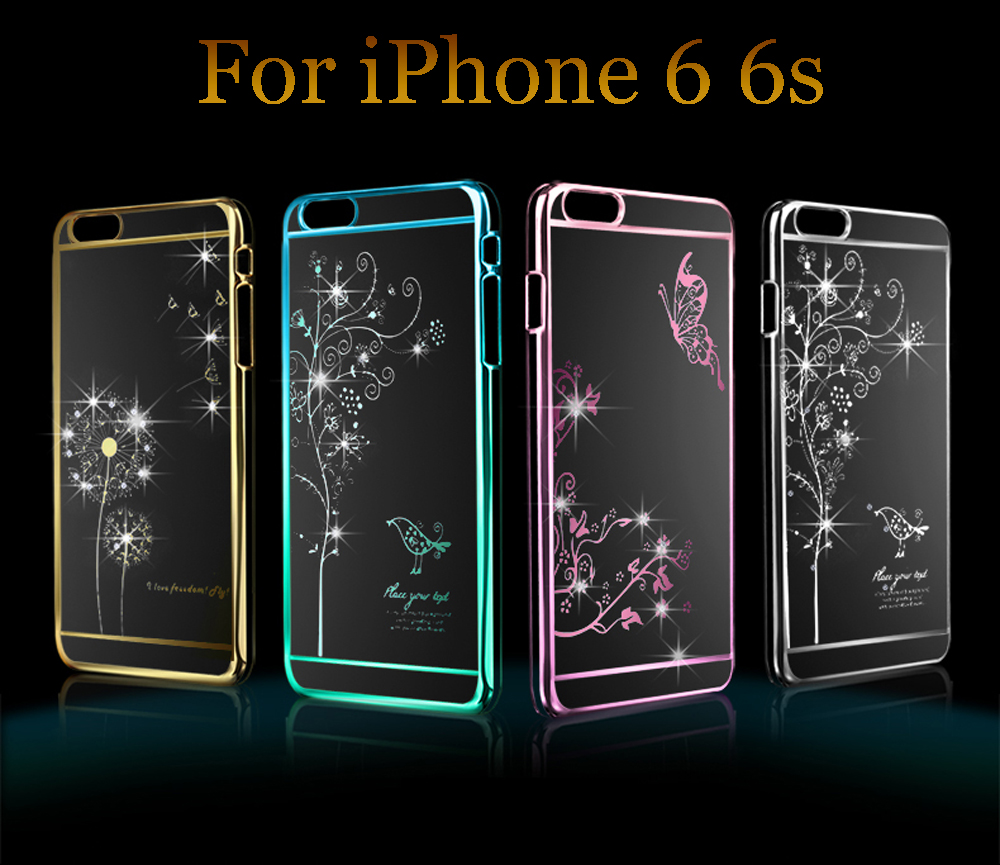 """Ultra Silm Luxury Rhinestone Crystal Bling Case for iPhone 6 6s Diamond Transparent Electroplate Back Cover for iPhone 6 4.7 """"(China (Mainland))"""