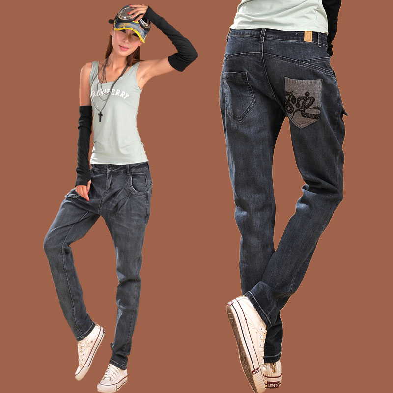 2015 New spring and autumn loose large size jeans female harem pants Pencil Pants high waist calca jeans feminina Y0912-100D
