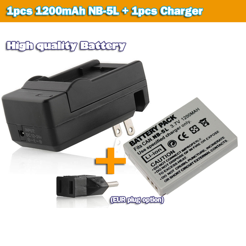 Battery NB-5L NB5L NB 5L + DC Charger Canon IXY Digital IS 120 PowerShot SD200 IXUS SD950 SD990 SD900 camera - H_K Gotrange Elec. Co.,LTD Store store