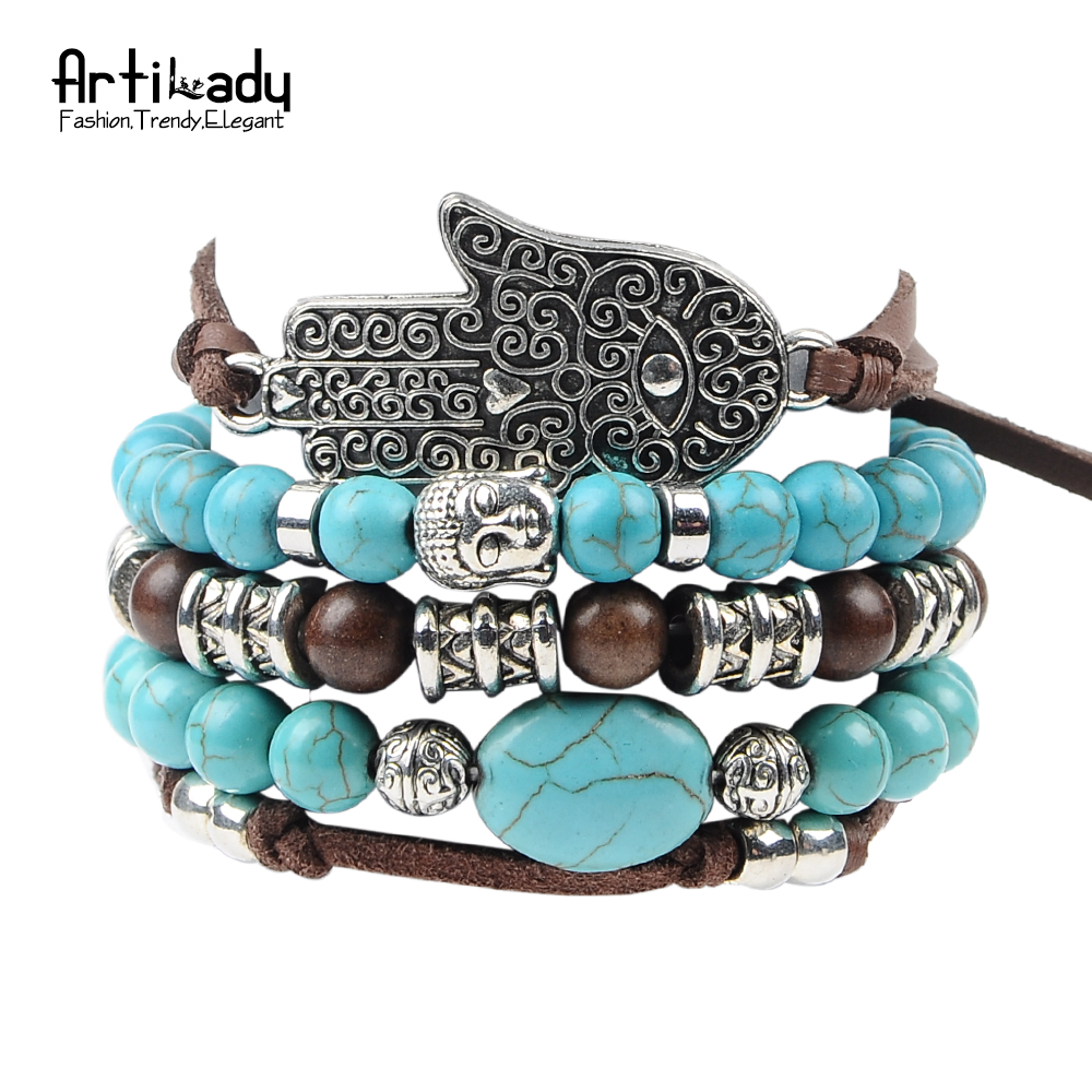 Artilady new hamsa hand 5pcs set leather bracelets boho turquoise bracelet set for statement women jewelry party gift(China (Mainland))