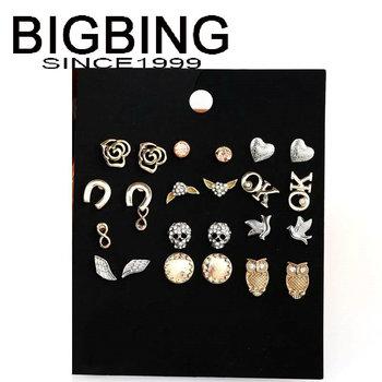 Bigbing мода перл череп цветок 12 пара из серьги мода серьги мода ювелирные изделия никель бесплатно! HA134