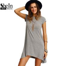 SheIn New Arrival Womens Summer Dresses 2016 Ladies Grey Asymmetric Hem Casual Round Neck Short Sleeve Shift Tees Dress(China (Mainland))