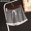2016 Womens Summer Casual Loose Shorts Drawstring Wide Leg Short Polyester Terry Shorts Feminino Home Comfy