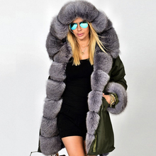 2015 women real fox fur green coat parka genuine fox fur lining(China (Mainland))