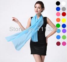 Nice Chiffon Scarf Women High Quality Gradual Solid Color Chiffon Georgette Silk Scarves Shawl Female Long Design AZ710(China (Mainland))