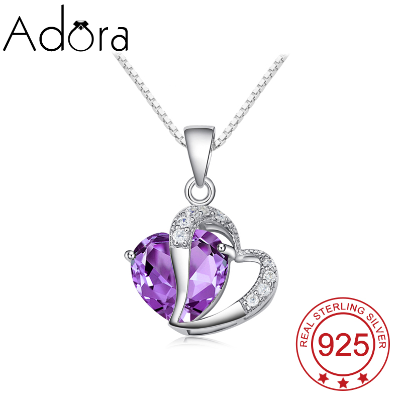 ADORA Luxury Princess 925 Sterling Silver Jewelry Amethyst Loving Heart Crystals Pendant Necklace Female For Valentine's Day(China (Mainland))