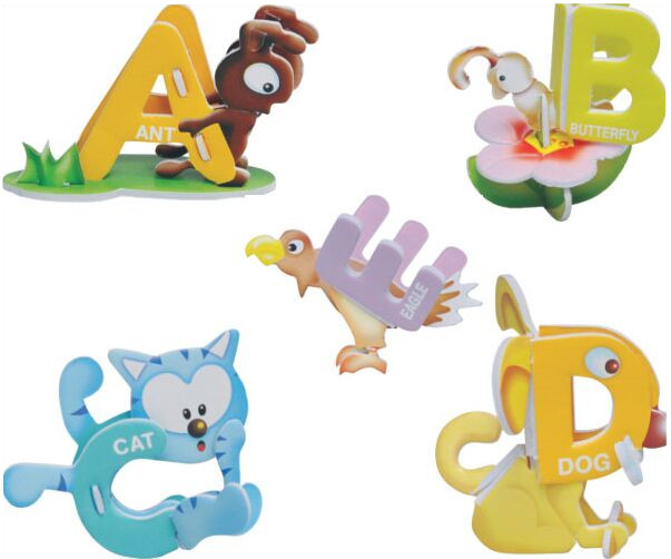 ABC 26 English letters spell children leaning language puzzle animal cartoon 3D makeup puzzle Early Learning Toys for kids baby(China (Mainland))